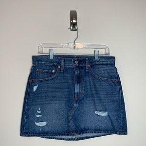 Womens Levi's Denim Distressed Jean Skirt Size 10
